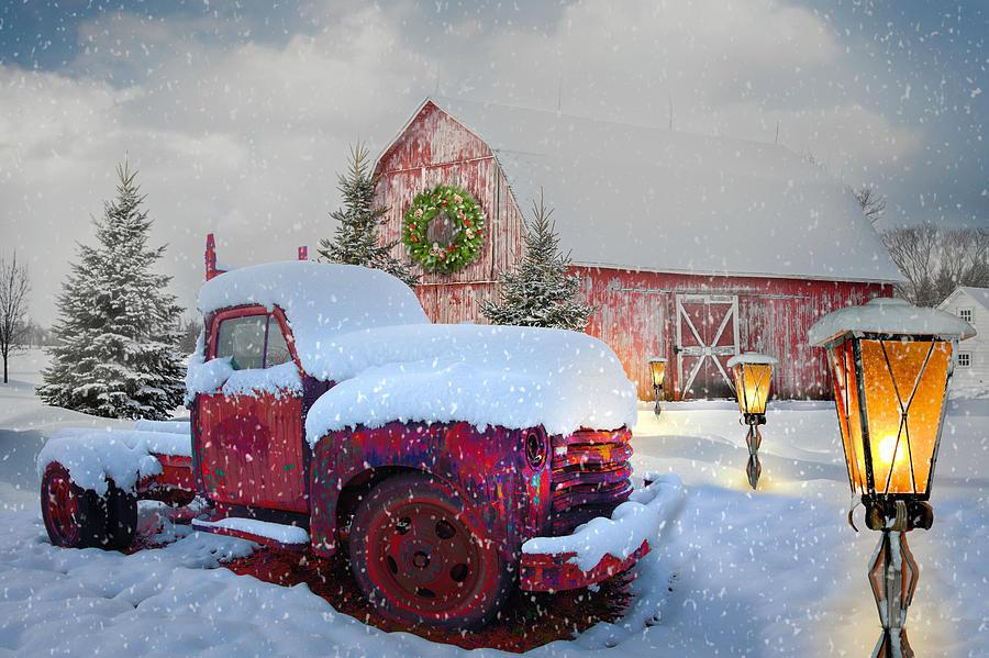 1949 Photograph - Big Red In Winter Snow by Debra and Dave Vanderlaan