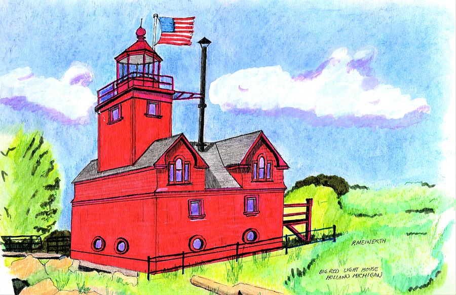 Big Red Light House Drawing