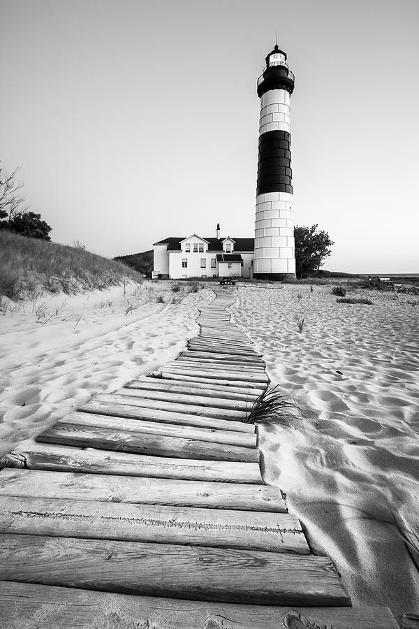 Big Sable Point Lighthouse Black and White by Adam Romanowicz