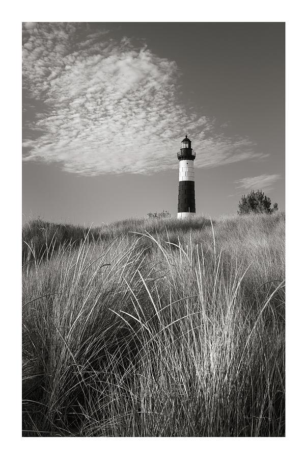 Big Sable Point Lighthouse Photograph - Big Sable Point Lighthouse I Bw by Alan Majchrowicz