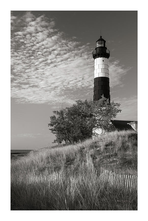 Big Sable Point Lighthouse Photograph - Big Sable Point Lighthouse II Bw by Alan Majchrowicz