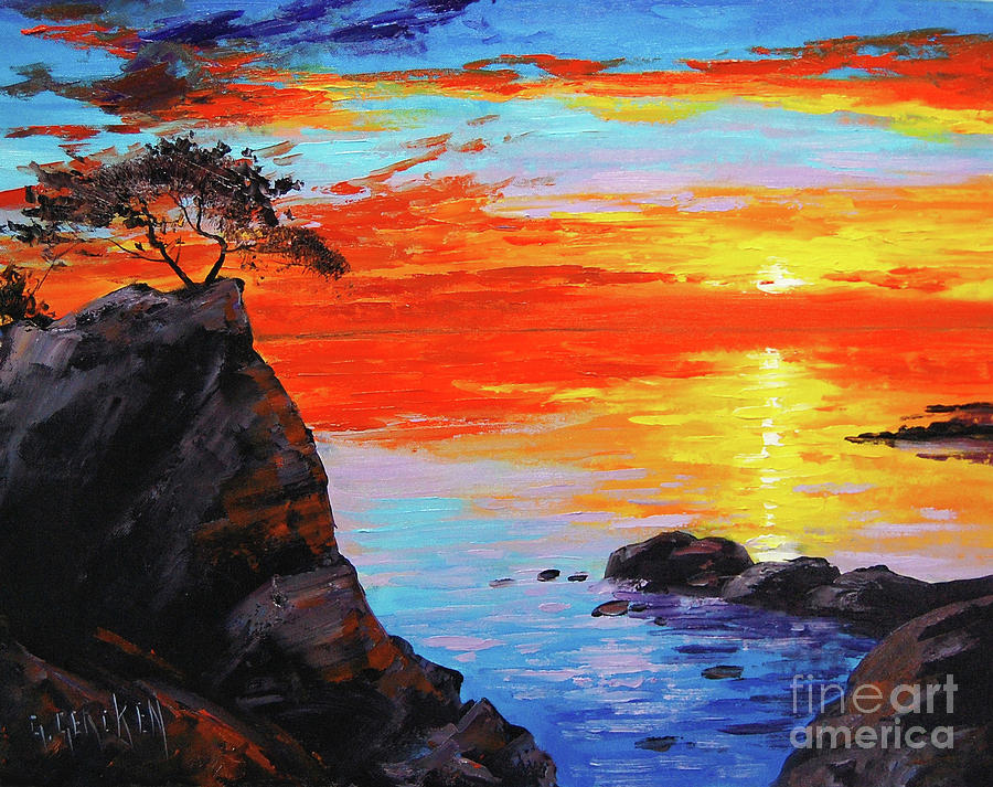 Sunset Painting - Big Sur Sunset by Graham Gercken