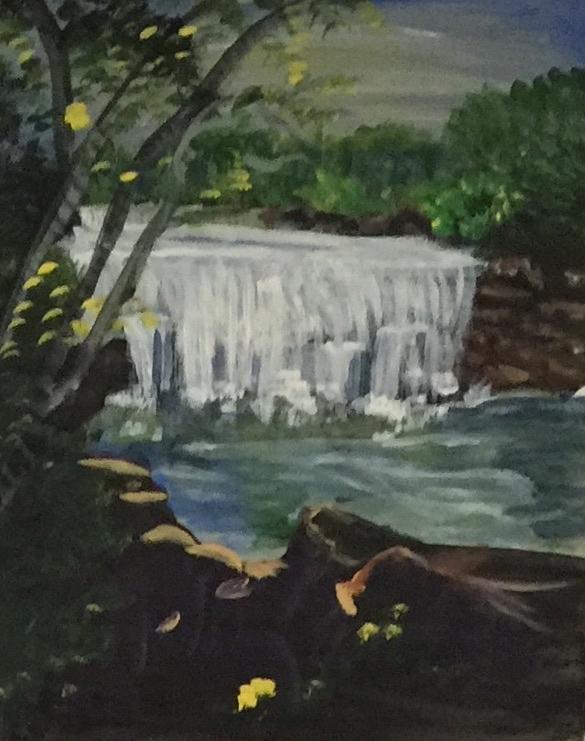 Waterfall Painting - Big Waterfall by Julie Thomas-Zucker
