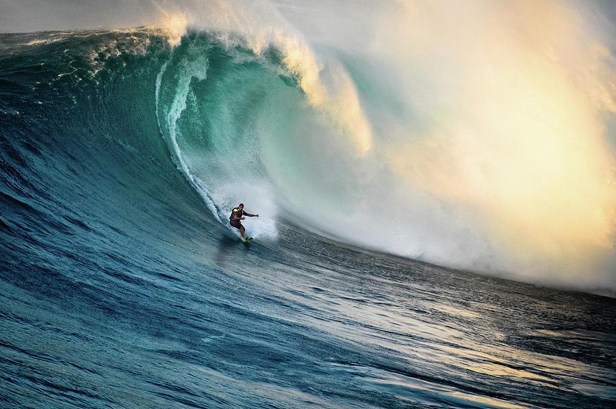 Big Wave Surfer At Jaws, Maui, Hawaii Photograph by Kjell Linder