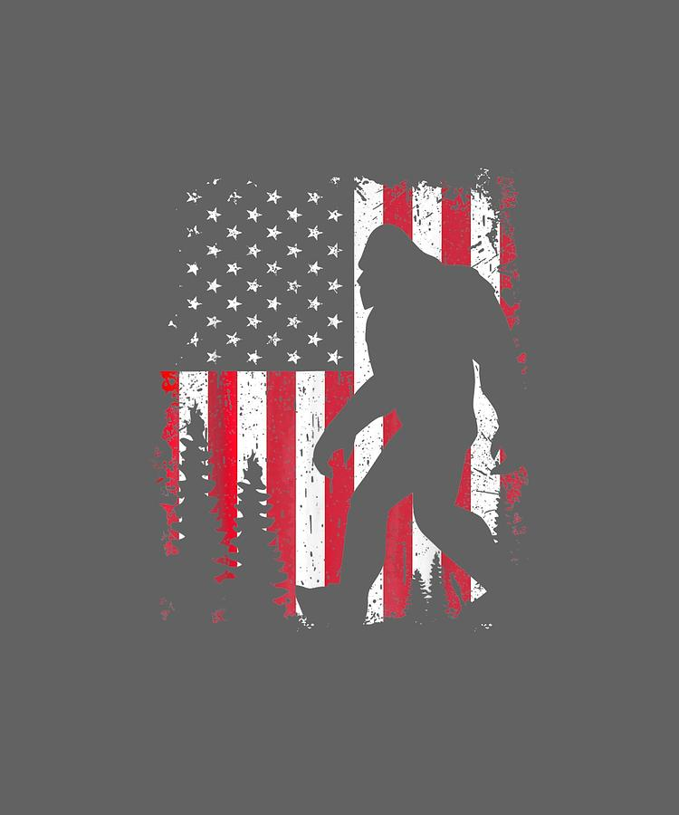 Bigfoot 4th Of July Shirt American Usa Flag Patriotic Kids