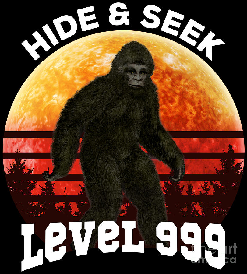 cfa6b480 Bigfoot Digital Art - Bigfoot Hide Seek Level 999 World Champion Retro  Style by Festivalshirt