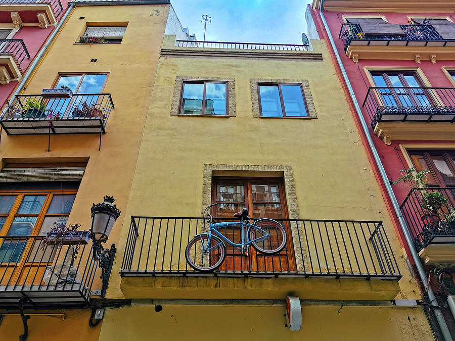 Bike hanging From The Balcony by Art Spectrum