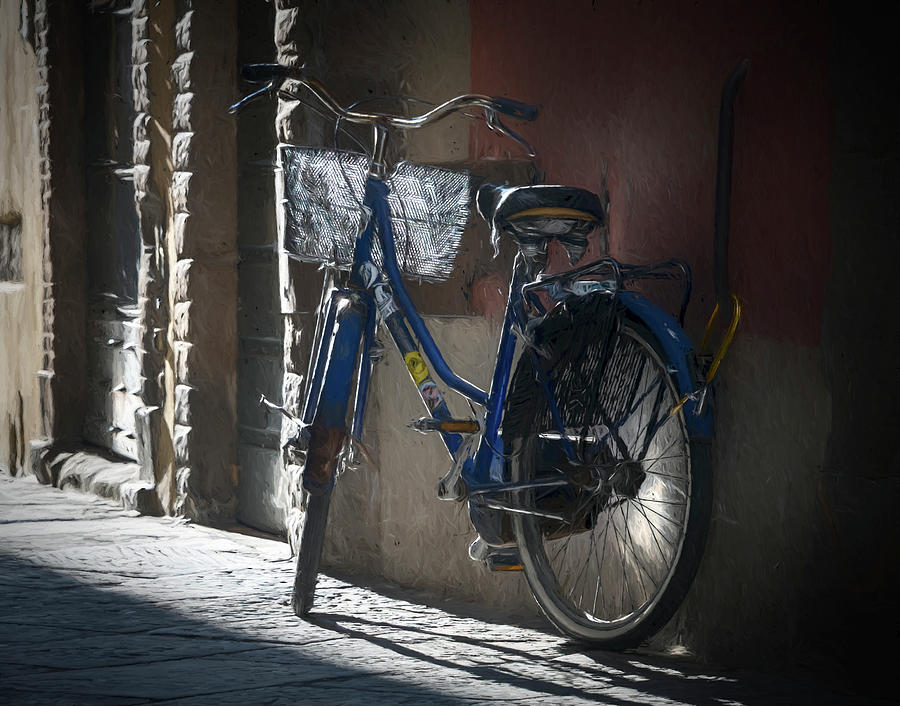 Bike in Lucca Italy Painterly by Joan Carroll