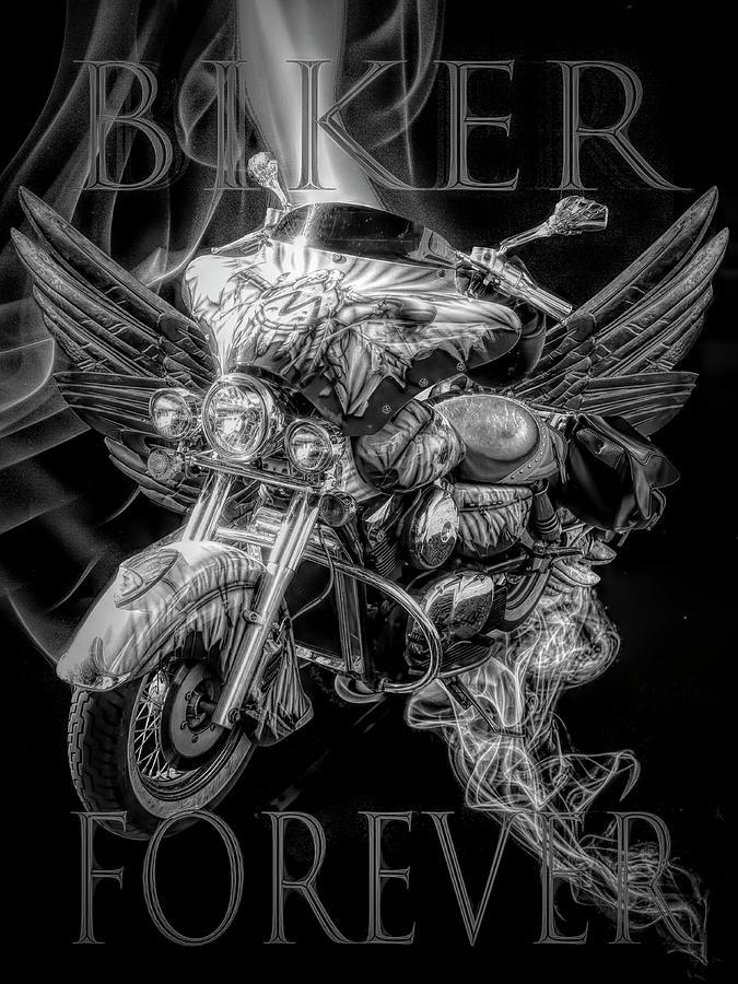 Biker Forever in Black and White by Debra and Dave Vanderlaan