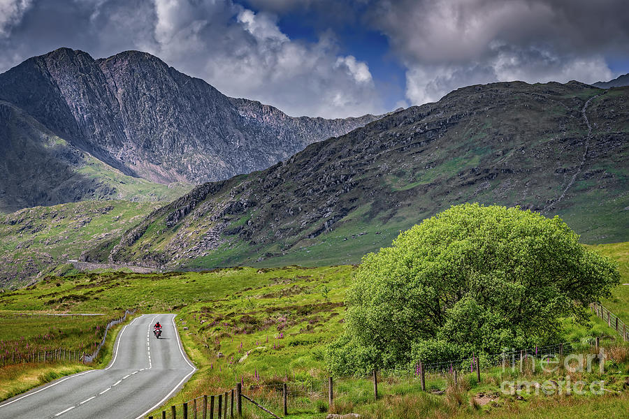 Biker in Snowdonia Wales by Adrian Evans