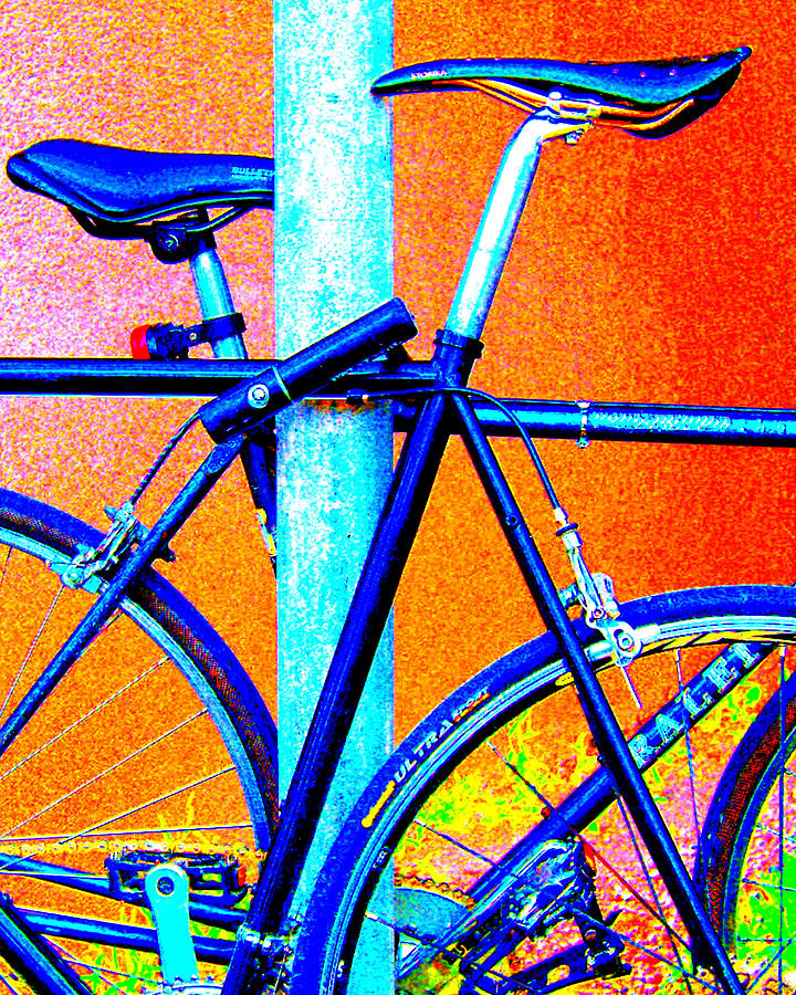 Bicycles Photograph - Bikes In Blu Pastel by Edward Swearingen