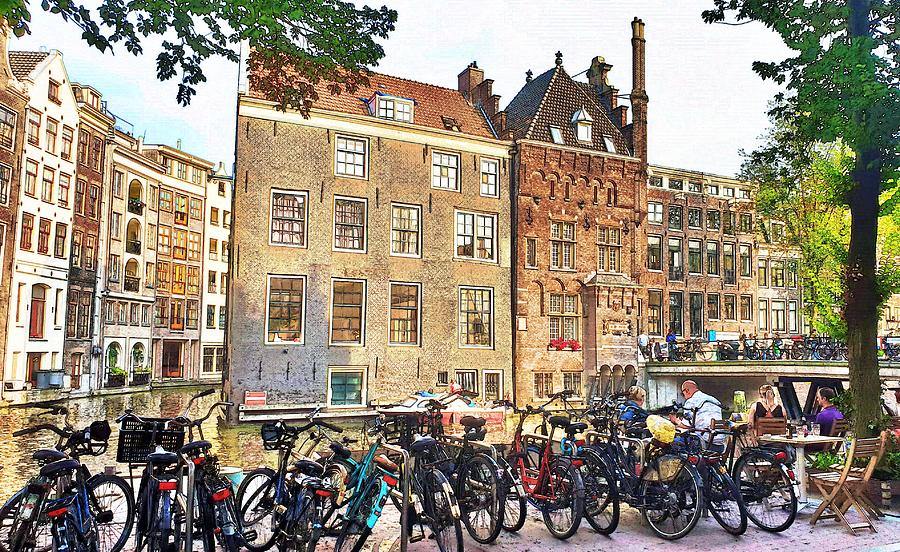 Bikes on an Amsterdam Canal by Andrea Whitaker