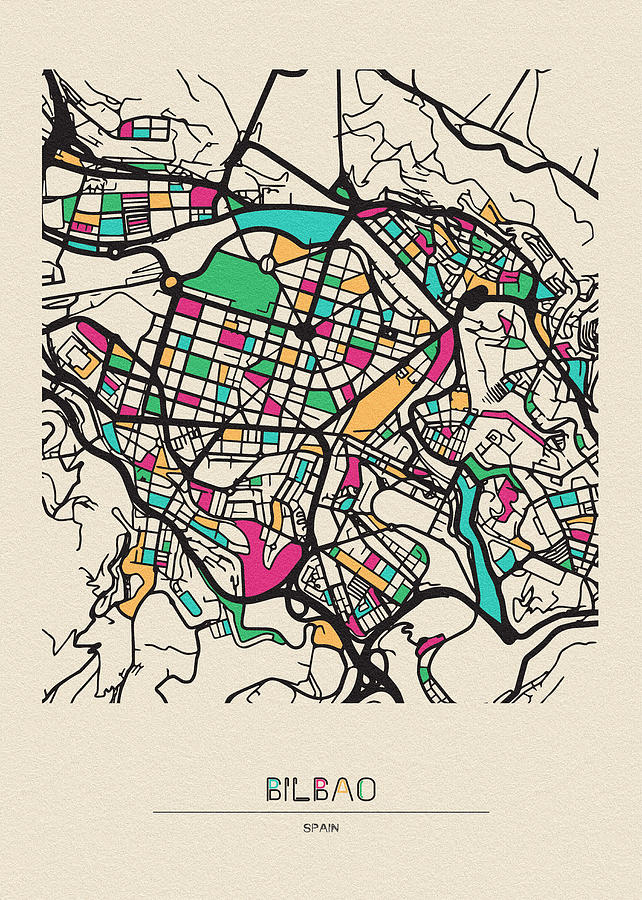 Bilbao, Spain City Map by Inspirowl Design