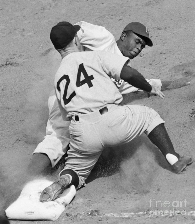 Bill Johnson Tagging Out Jackie Robinson Photograph by Bettmann