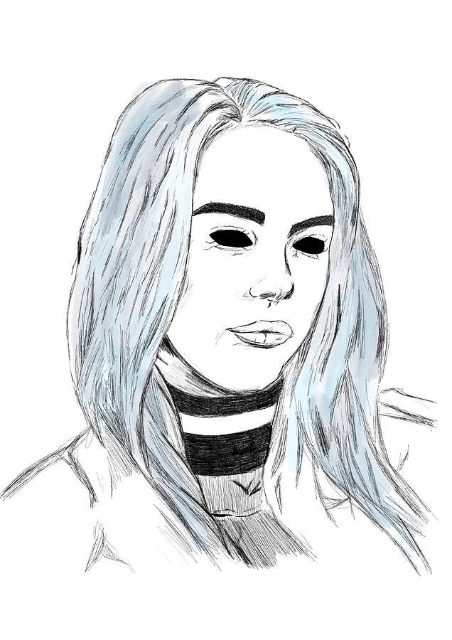 billie eilish portrait  by Uwaki Art