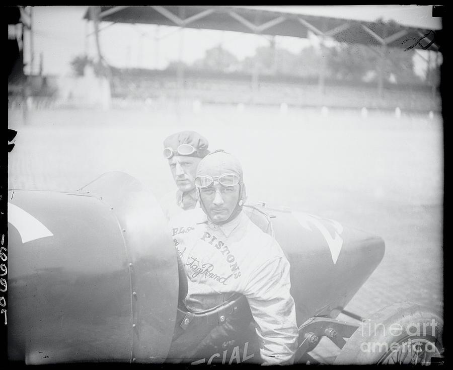 Billy Salmon In Race Car With Mechanic Photograph by Bettmann