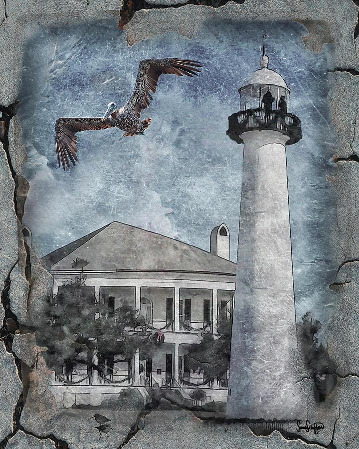 Biloxi Lighthouse with Pelican by Sandra Schiffner