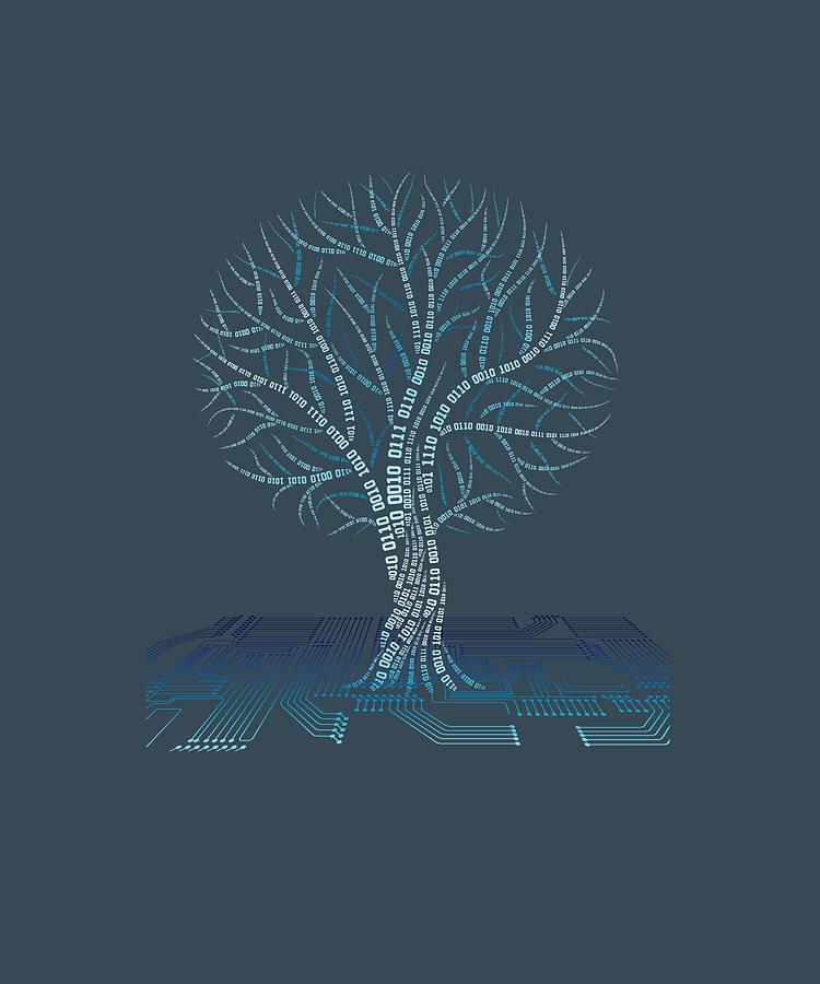 Binary Digital Art - Binary Tree Computer Coding T-shirt by Do David