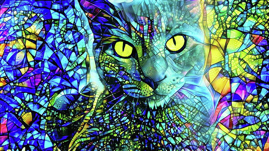 Gray Cat Digital Art - Binx The Stained Glass Cat by Peggy Collins