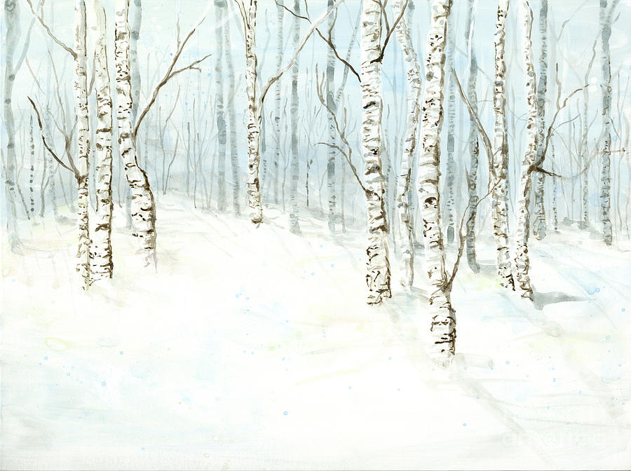 Birch Aspen Forest in Winter Snow by Audrey Jeanne Roberts