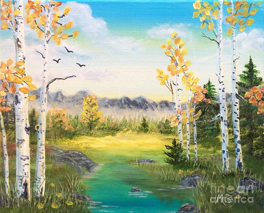 Birches By The Creek by Monika Shepherdson