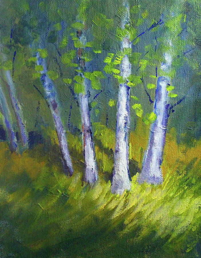 Birch Trees Painting - Birch Light Landscape by Nancy Merkle
