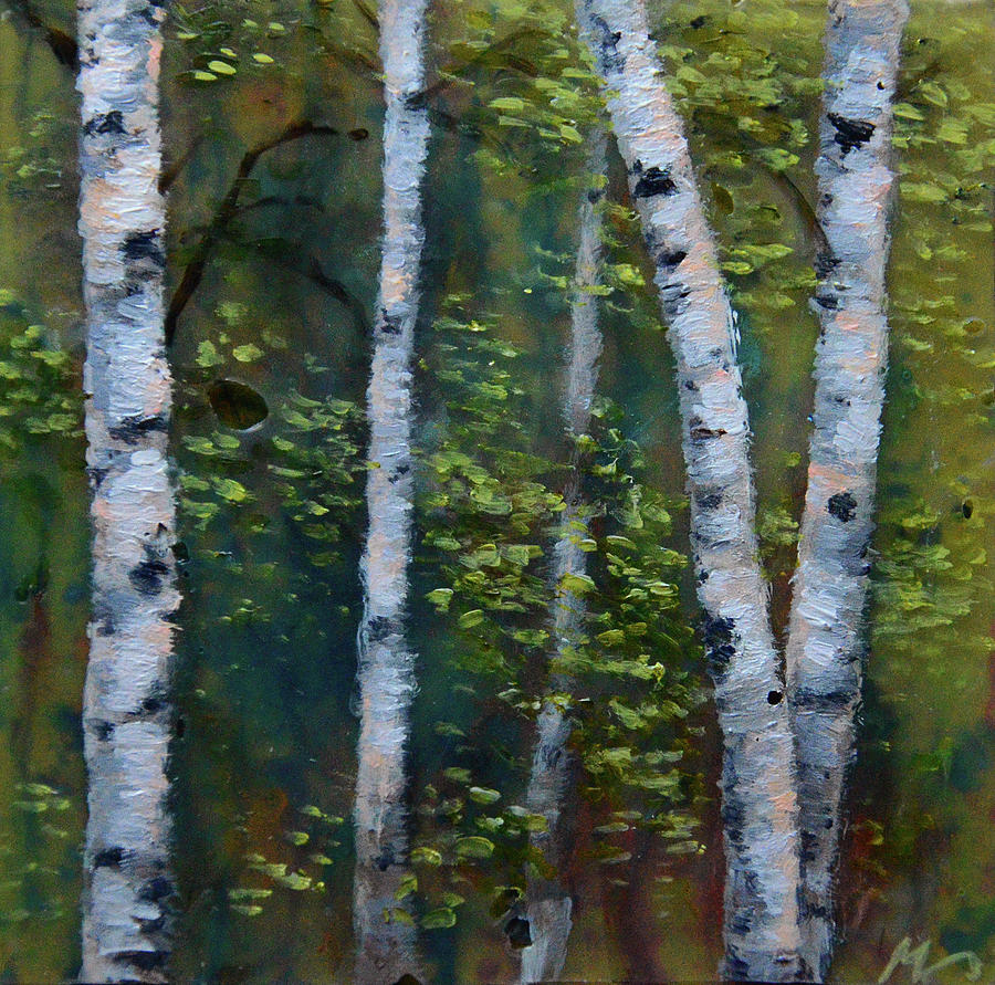 Acrylic Painting - Birch Portrait II by Melissa Peterson