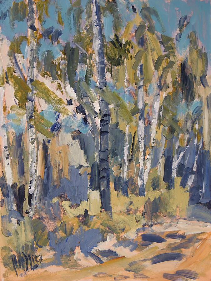 Birch Painting - Birch Trees Along The Pond De Melle by Nop Briex
