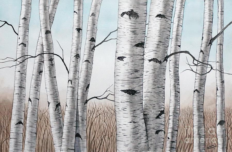 Birch Trees in Early Winter in Watercolor by Christopher Shellhammer