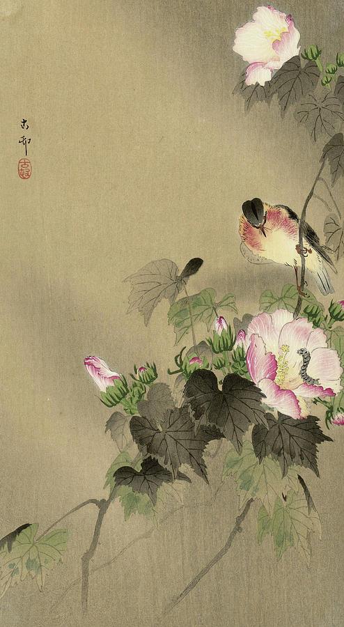 Bird Painting - Bird And Caterpillar, 1930 by Ohara Koson