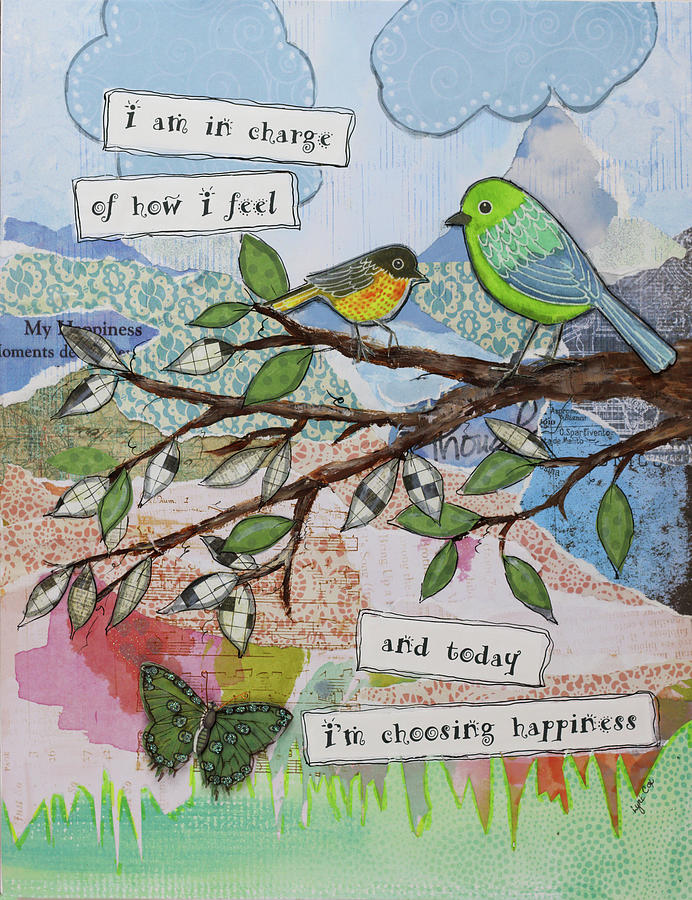Quotes Mixed Media - Bird Of Happiness by Let Your Art Soar