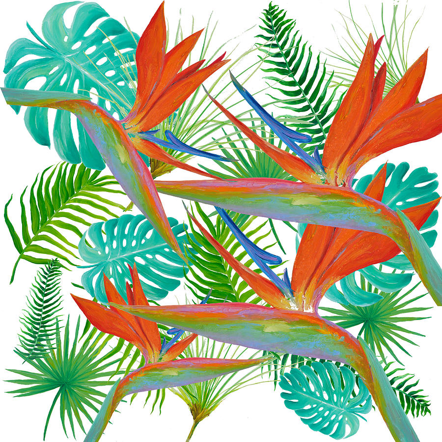 Bird of Paradise flower and tropical leaves and ferns by Jan Matson