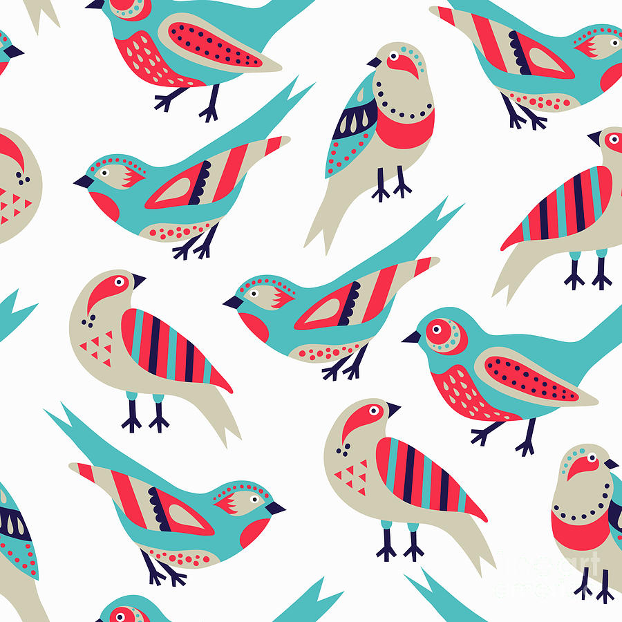 Beauty Digital Art - Bird Seamless Pattern by Texturis