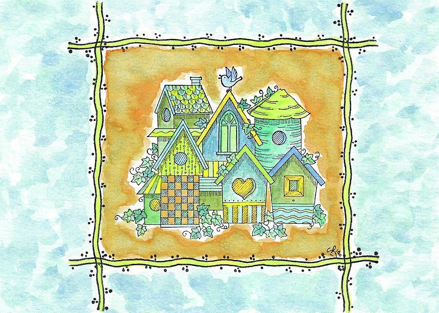 Mixed Media Mixed Media - Birdhouses by Susan Campbell