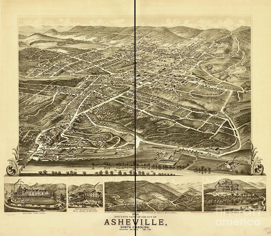 Bird's-Eye View of the City of Asheville by Flavia Westerwelle