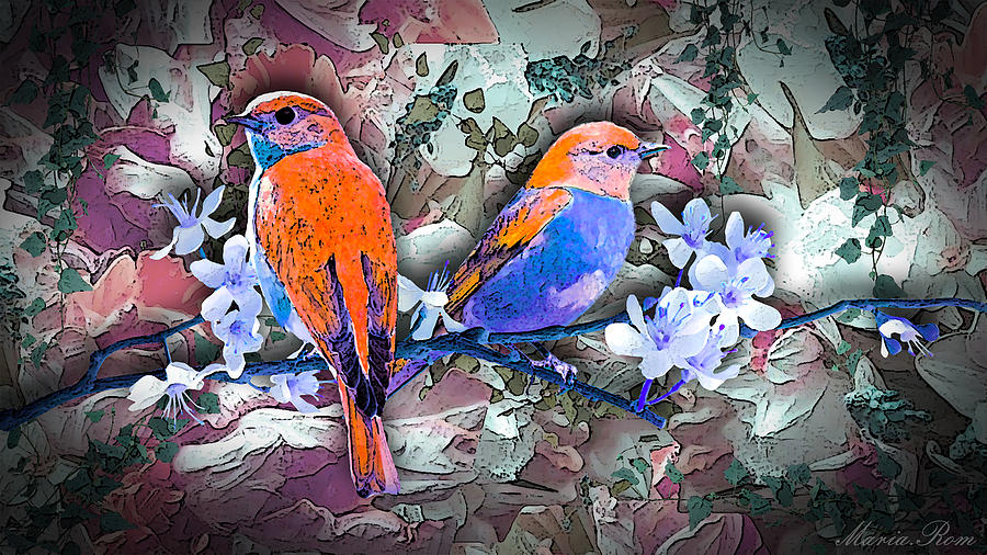 Birds in the land flowers by MARIA ROM