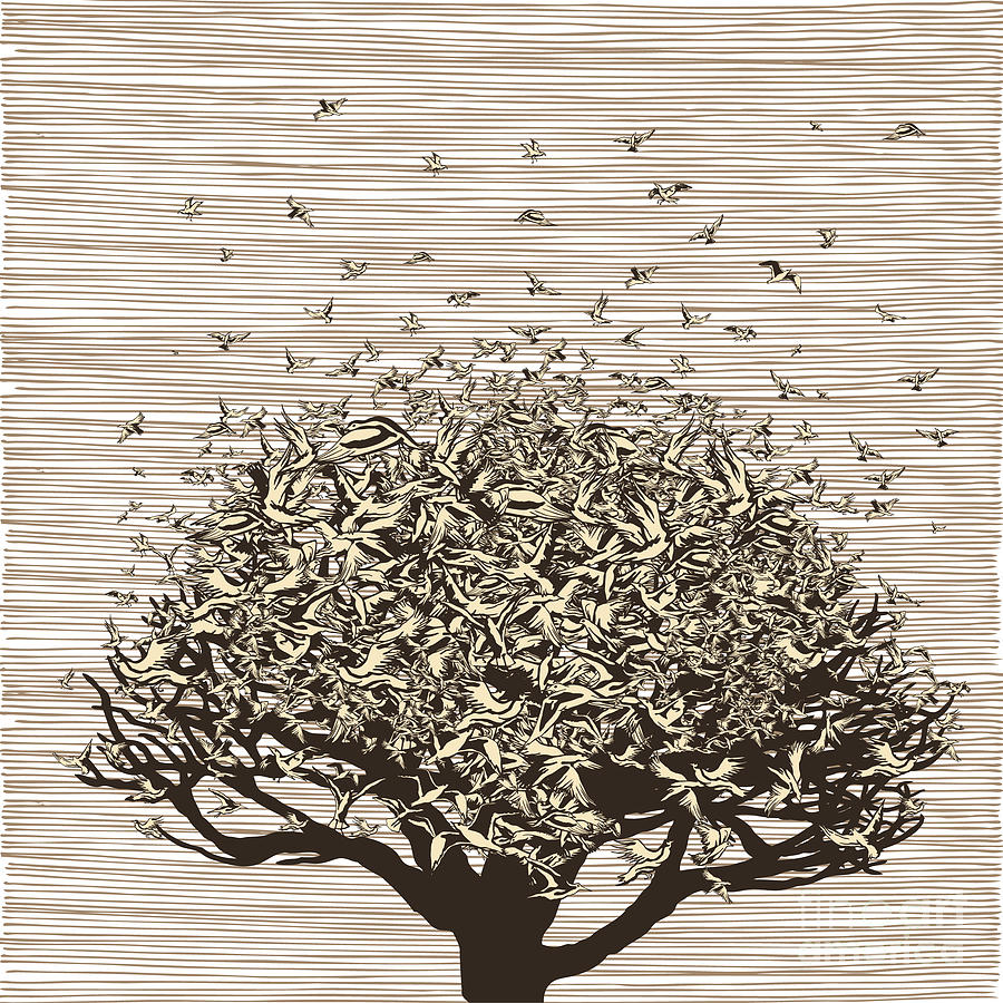 Feather Digital Art - Birds Like Leaves On A Tree by Ryger