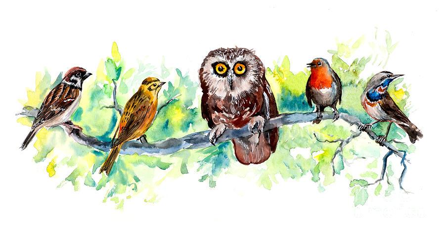 Birthday Digital Art - Birds Liner. Wildlife Banner by Marya Kutuzova