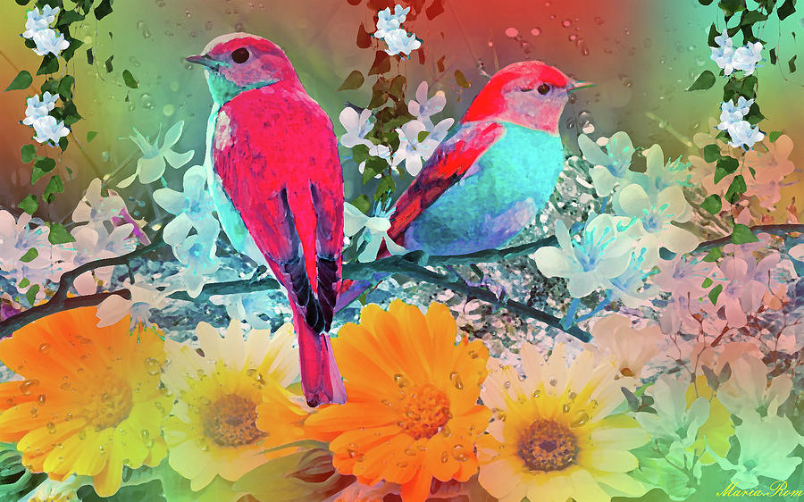 Birds on the garden by MARIA ROM