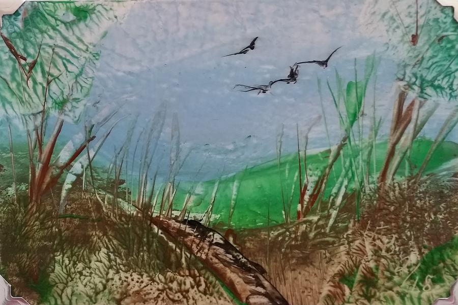 Birds over Grassland by Lorraine Bradford