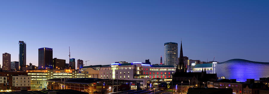 Birmingham Skyline Night Panorama Photograph by Dynasoar