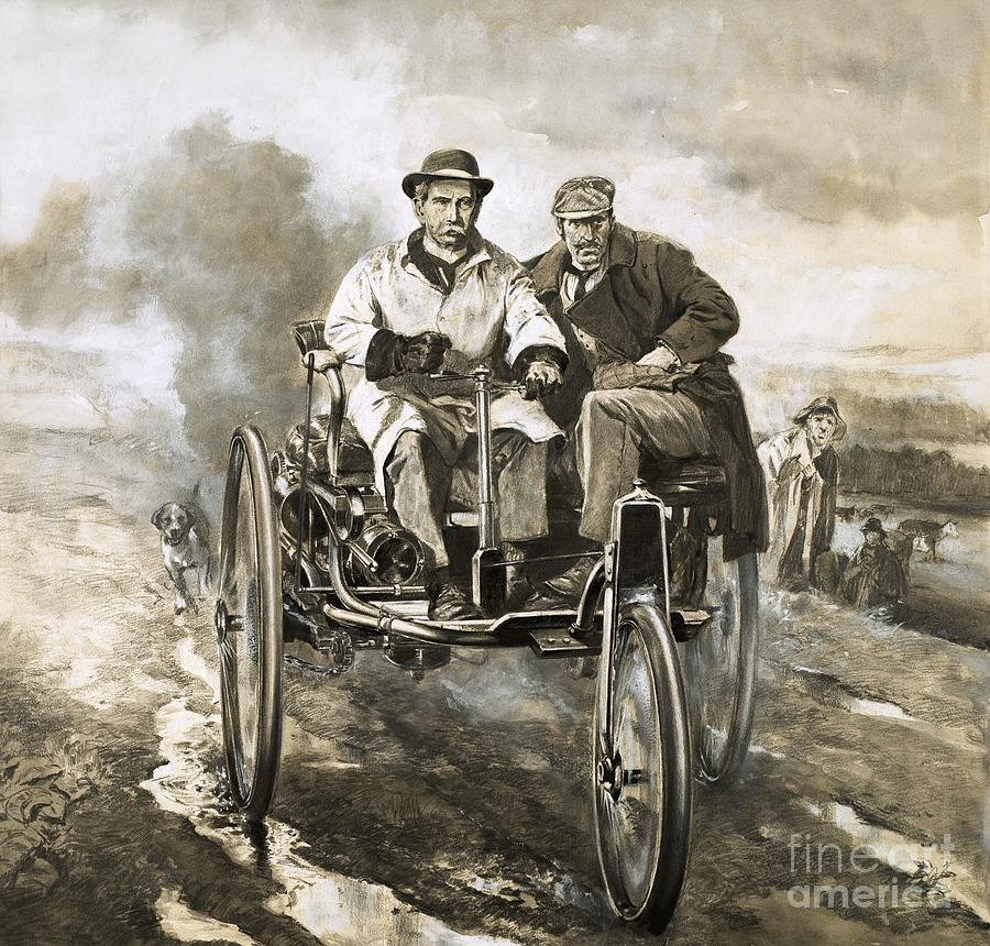 Cars Painting - Birth Of The Motor Car by Neville Dear