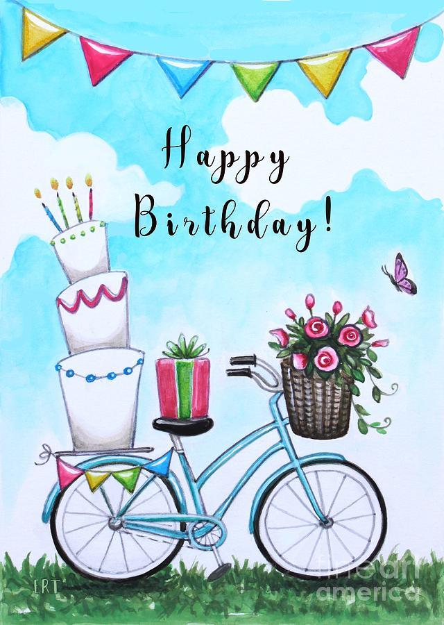 Amazing Birthday Bike Flowers And Cake Painting By Elizabeth Robinette Personalised Birthday Cards Xaembasilily Jamesorg