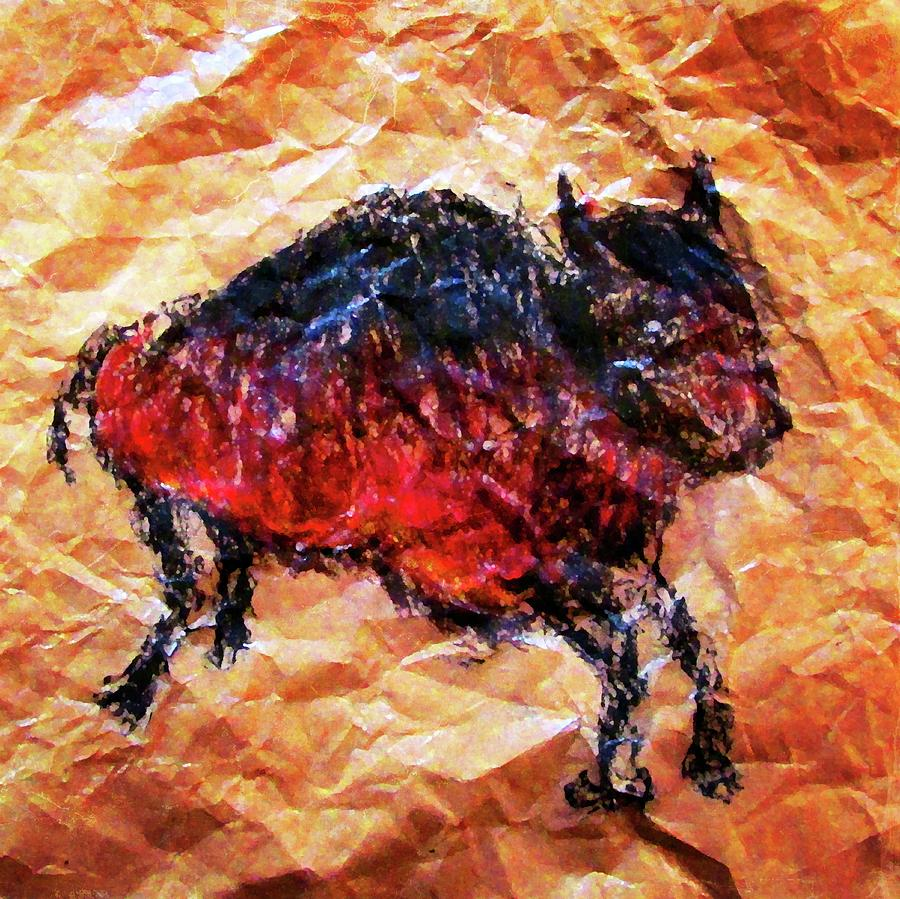 Bison Drawing by Timothy Bulone