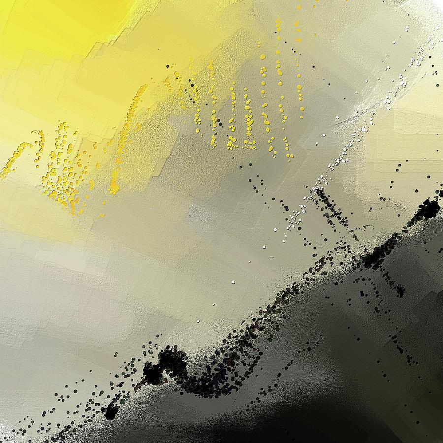 Bit Of Sun - Yellow And Gray Modern Art by Lourry Legarde