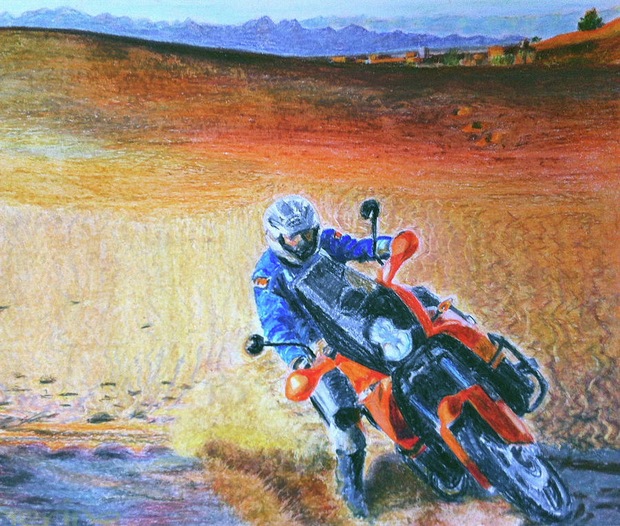 Ktm Drawing - Biting The Dust Ktm 990 Adventure by Catherine Holland