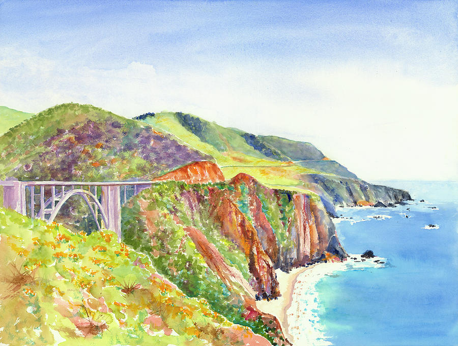 Bixby Bridge 2 Big Sur California Coast by Carlin Blahnik CarlinArtWatercolor