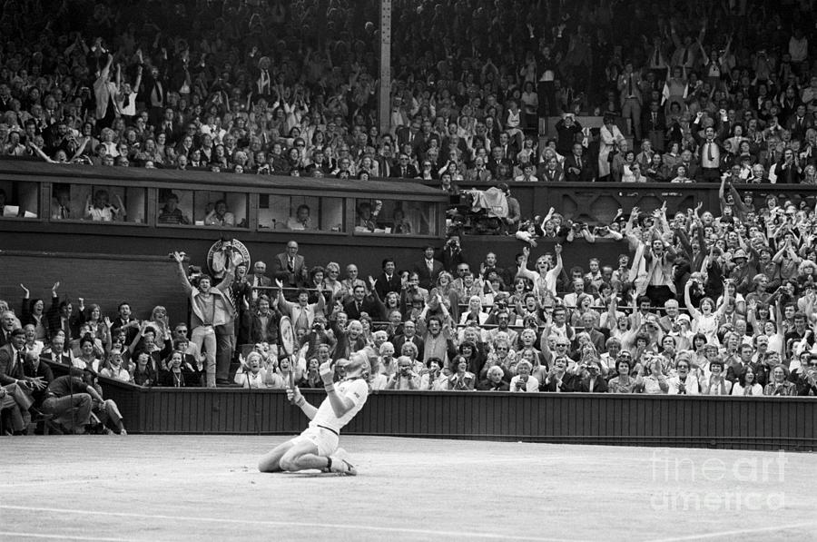 Bjorn Borg Kneeling In Stadium After Win Photograph by Bettmann