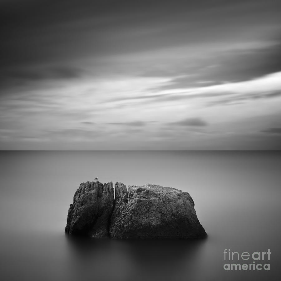 Atmosphere Photograph - Black & White Rocky Seascape Scene With by Yury Bird