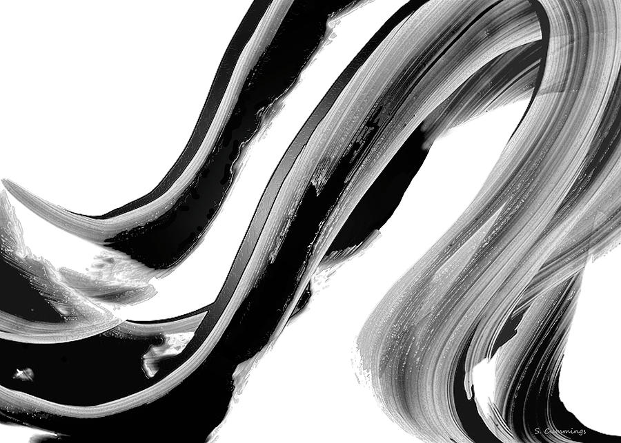 Black and White Abstract Artwork - Black Beauty 29 by Sharon Cummings